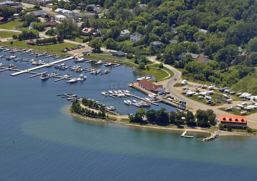 aerial view of the boats at the Marina in Gorebay on Manitoulin Island, Ontario Canada