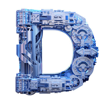 Technology 3D alphabet font design. Modern digital typography uppercase one letter D logo. Cyber machine device tech style ABC typeface creative lettering isolated. Hi-tech metal letter D illustration