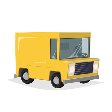 funny cartoon illustration of a yellow delivery truck in retro style