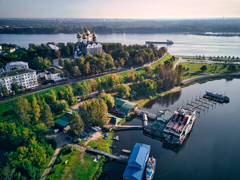 Aerial view of harbor near park at Strelka with Assumption Cathedral by Volga and Kotorosl river crossing, Yaroslavl, Russia