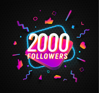 2000 followers celebration in social media vector web banner on dark background. Two thousand follows 3d Isolated design elements