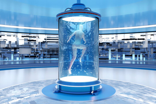 3D rendered Illustration of gynoid being created in regeneration tank at illuminated laboratory