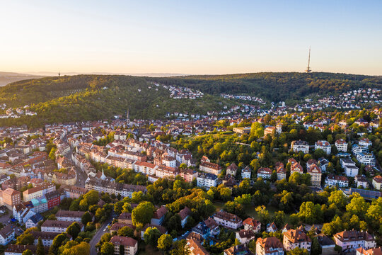 Germany, Baden-Wurttemberg, Stuttgart, Aerial view of Gablenberg district at dusk