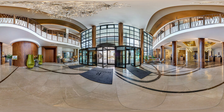 MINSK, BELARUS - AUGUST , 2017: Full spherical 360 degrees angle view seamless panorama in guestroom hall reception of modern luxury hotel in equirectangular equidistant projection. VR content