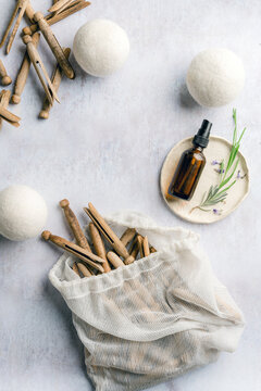 Natural laundry items including wool dryer balls