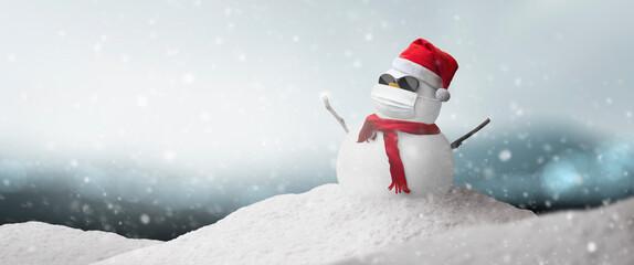 Concept: snowman sunglasses, Santa hat and mask during coronavirus pandemic on sunny Christmas...
