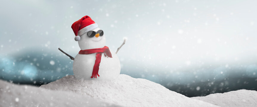 Concept - happy snowman with sunglasses and santa hat in the north pole snow on Christmas day
