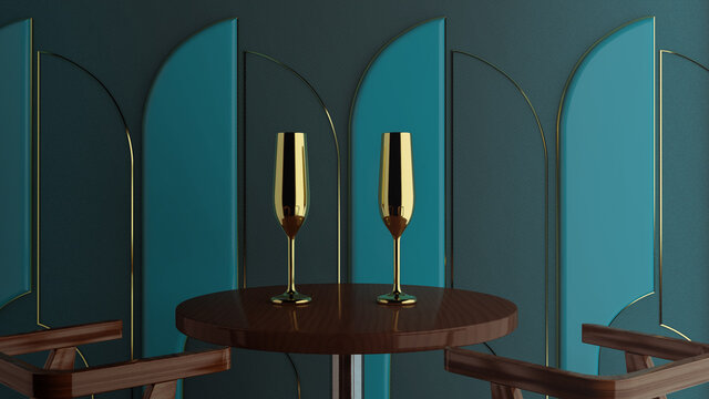 Golden champagne glasses on green background