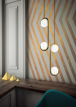 Ceiling lamp with geometric shape in the Art Deco style
