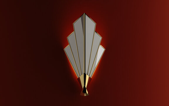 Art Deco style lamp on brown wall.