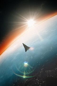 Spaceship Orbiting around Earth