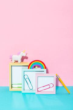Naif school supplies with frames