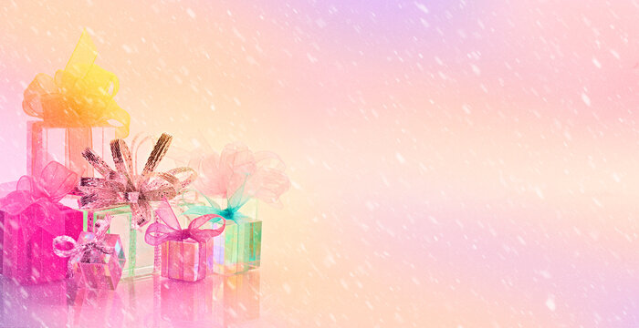 horizontal background gifts colors snow bows ribbon holiday celebration peach