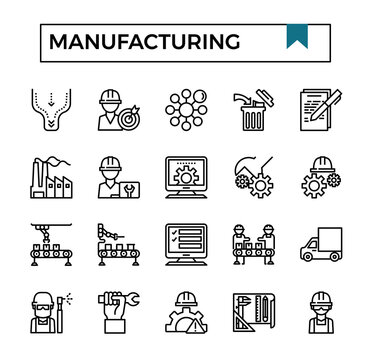 Manufacturing and industry icon set.