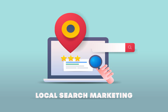 Local search marketing, local business map listing and seo optimization. Local search result with map and rating. 3d style illustration vector.