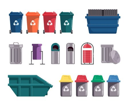 Recycling garbage can, waste dumpster, wheelie trash bin set. Different type utility and sorting street container, in-house waste-paper basket vector illustration isolated on white background
