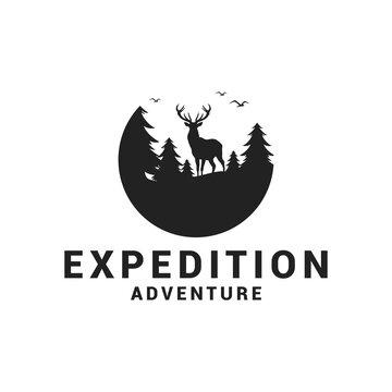 Expedition adventure wild deer logo icon vector template. Premium design wild deer logo.