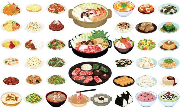 人気の家庭料理イラスト②(すき焼き、焼肉、カレーライス、豚汁、おにぎり)