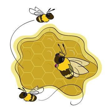 queen bee and honey bee