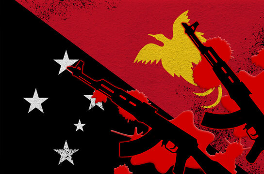Papua New Guinea flag and two black AK-47 rifles in red blood. Concept for terror attack or military operations with lethal outcome