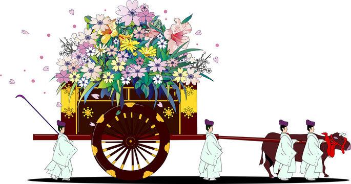 日本の昔の貴族が乗る伝統的な花を積む牛車