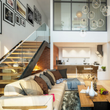 Modern Mansarde Apartment with Stairs (detail) - 3d visualization
