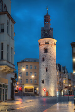 Halle (Saale), Germany. 15th century Leipzig Tower (Leipziger Turm) - part of historic town fortifications