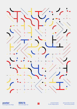 Neomodern Poster Design Layout With Abstract Vector Geometric Shapes And Forms