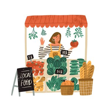 Female farmer selling fresh fruits and vegetables at stall at local food market place. Farm organic production concept. Flat vector illustration isolated on white background