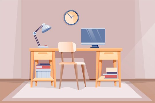 Modern home office interior design background. Room at home for work with chair, table with lamp and computer monitor, clock on wall. Empty cosy area for working vector illustration