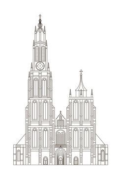 Vector illustration of Cathedral of Our Lady, Antwerp, Belgium