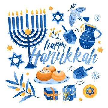 Square greeting card or postcard template with Happy Hanukkah lettering and holiday symbols and attributes - menorah, sufganiyah doughnuts, olive branch, flying dove, dreidels. Vector illustration