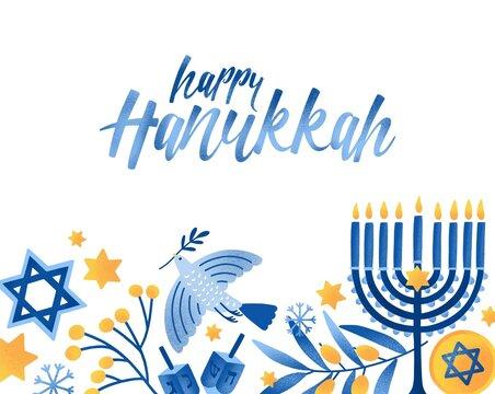 Happy hanukkah greeting card vector template. Jewish holiday celebration postcard design. Menorah candles, David star, flying dove and handwritten lettering. Jewish festival of lights postcard layout.