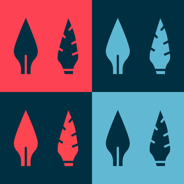 Pop art Stone age arrow head icon isolated on color background. Medieval weapon. Vector.