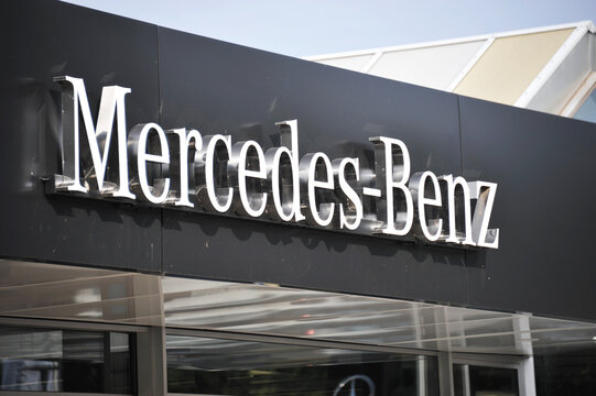 Celle, Lower Saxony / Germany - September 5, 2020: The logo of automobile manufacturer Mercedes-Benz in Celle, Germany - Mercedes is a global automobile marque, division of Daimler AG