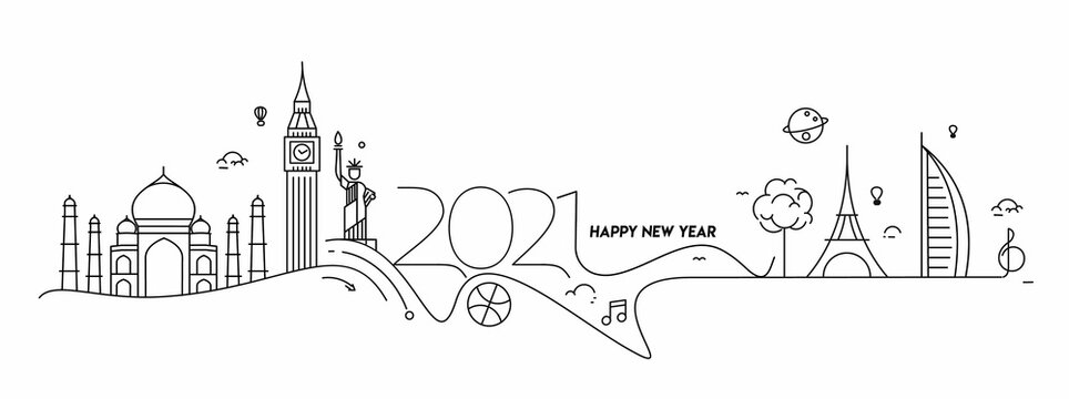 Happy New Year 2021 Text Typography Design for travel poster, Vector illustration.