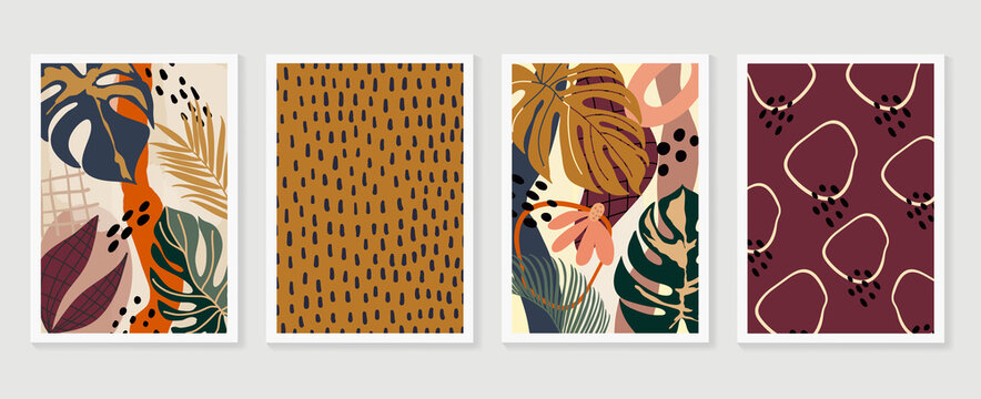 Hand painted illustrations wall arts vector. Surface pattern design. Abstract art textile design with literature or natural tropical line arts painting, Covering greetings cards, cover, print,fabrics.