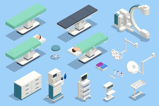 Isometric icons set of Equipment and MedicalDevices in Modern Operating Room. Medical Devices for Neurosurgery.