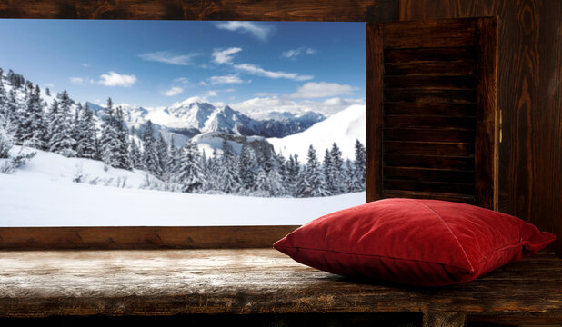 Winter window sill and free space for your decoration