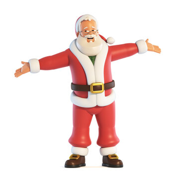 Santa Claus open hands gesture isolated on white background 3d rendering