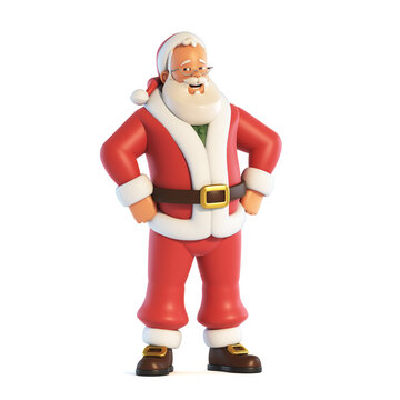 Santa Claus waving hand isolated on white background 3d rendering