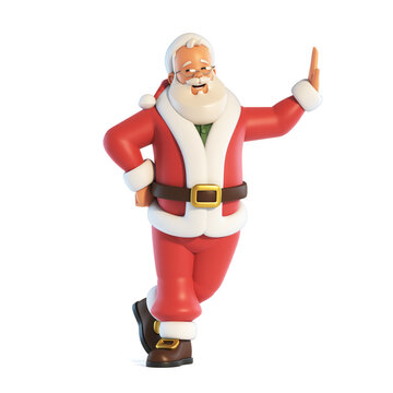 Santa Claus leaning on white banner isolated on white background 3d rendering