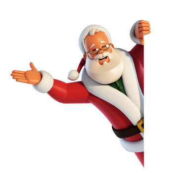 Santa Claus behind white board waving hand isolated on white background 3d rendering