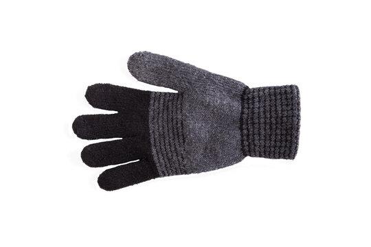 black woolen glove isolated on white background