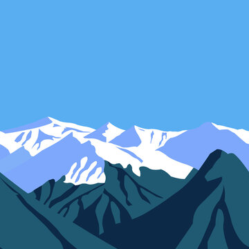 Snow capped mountain peaks