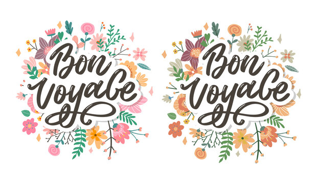 Bon Voyage Hand Lettering Vector Calligraphy Travel