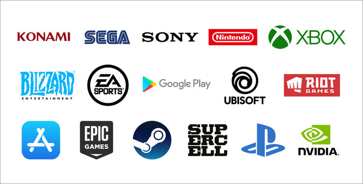 World top famous and important Gaming industry logos. Vector Company Symbols. Konami, Sega, Sony, Xbox, Playstation, Steam, Epic Games, Nvidia.