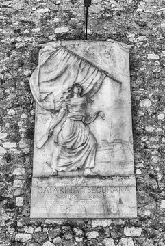 Memorial in bas-relief to Catherine Ségurane, Nice, Cote d'Azur, France