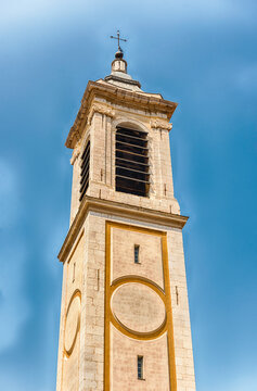 Belltower of the baroque Nice Cathedral, Cote d'Azur, France