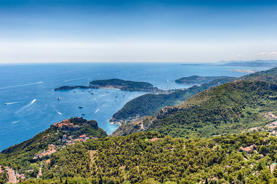 View over the coastline of the French Riviera, Eze, France